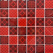 Retro Vintage Mosaic Tiles Translucent Red Glass Mosaic Crystal Look Red