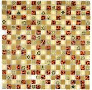 Mosaic Tiles Translucent Beige Glass Mosaic Crystal Resin Look Beige Red
