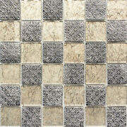 Mosaic Tiles Translucent Champagne Black Glass Mosaic Crystal Resin Look