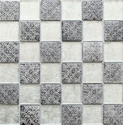 Mosaic Tiles Translucent Silver Glass Crystal Resin Look Mos88-8op6