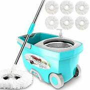 Tsmine Mop Bucket System Stainless Steel Deluxe 360 Spinning For Home Cleaning