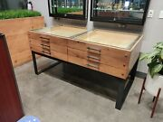 Wood Display Case With Steel Legs Glass Top And Storage Drawers