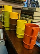 Vintage Tupperware Cups Set Of 11 Stackable Handles Colors Mugs Retro Colorful