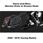 Vance And Hines Touring Monster Oval Slip-ons W/ Black Dresser Duals 09-16 Touring