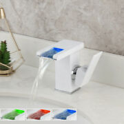 Led Bathroom Sink Faucet White Waterfall One Handle Brass Mixer Deck Mounted Tap