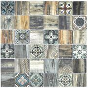 Glass Mosaic Tiles Wood Look Retro Vintage Blue Green Wall Kitchen F