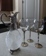 Rare Antique 1950andrsquos Corbell And Co Claret Jug And 3 Wallace Wine Glasses