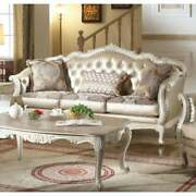 Transitional Upholstery And Poly Resin Sofa With Pillows Gold Transitional
