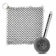 Cast Iron Skillet Cleaner And Stainless Steel Sponges Scourer With Handle Cha...