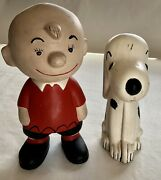 """Peanuts Charlie Brown 9"""" And Pal Snoopy 8"""" Ceramic Figures Statue"""