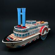 Modern Toys Queen River Tin Paddle Boat Steamboat Battery Operated - Vintage