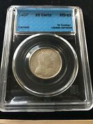 1907 Cccs Graded Canadian Andcent25 Cent Ms-63