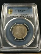 1910 Pcgs Graded Canadian Andcent25 Cent Ms-65