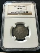 1911 Ngc Graded Canadian Andcent25 Cent Ms-65