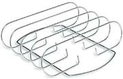 Bbq Grill Rib Rack Holder For Roaster Wheel Rub Barbeque Steel Stand Smoker New