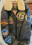 Mickey Mouse Mens Leather Bomber Jacket Brown 449th Flying Aces Sherpa Large