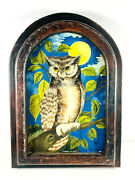 Beautiful Vintage Owl Painting In Antique Round Frame Haunted Gothic