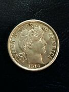 1914 Dandnbsp Barber Dime Au++ With Luster. Strong Strike Uncleaned Light Toning