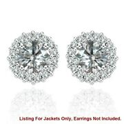 White Diamond Earring Jackets For 8 Mm 4 Total Carat Weight 14k White Gold