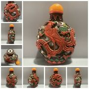 Collections Old Beijing Chinese Snuff Bottle Statue Carving Dragon Phoenix Rare