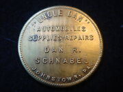 Uncle Dan Automobiles Supplies And Repair Johnstown Pa. Token With Swastika