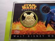 Darth Vader Mickey Mouse Ear Disney Star Wars 2005 Weekend 24kt Gold Nickel Coin