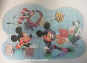 Vintage Disney Table Mat Placemat Exercising Made Easy Mickey Donald Goofy