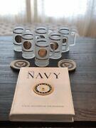 Navy Memorabilia 22kt Gold Frosted Glass Beer Mugs 6 4 Coasters Navy Book