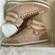 2020ss Tweed Sneaker Chain Sole Size Notation 37 Pink/beige