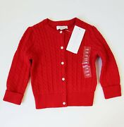 Girls Cable Cardigan Sweater Red Sz S 7 - Nwt