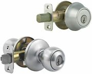 Kwikset 690p Chrome Polo Keyed Single Cylinder Knobset And Deadbolt Combo Pack