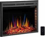 32 Electric Fireplace Insert,freestanding And Recessed Electric Stove Heater