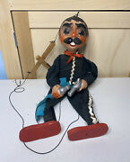 Vintage Marionette String Puppet Mexican Bandido Holding Pistol And Beer