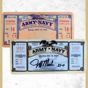 2020 Army-navy Commemorative Laminated Ticket Signed By Army Coach Jeff Monken