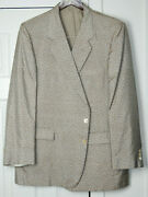 Vtg Alan Lebow Golden Brown And Silver Silk 2 Btn Patterned Smoking Jacket 44r