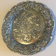 Vintage S Kirk Andsons Sterling Silver Floral Repousse Bread And Butter 27f Plate