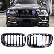 Pair Front M-color Grilles Kidney Grill For Bmw X5 X6 E70/e71 2007-2013