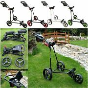 Bullet Cruiser 5000 Deluxe Compact 3 Wheel Foldable Golf Trolley Push Pull Cart