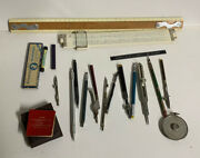 Vintage Lot Of Drafting Tools Slide Rules Pencils Compass Architect/engineer