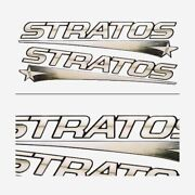 Stratos Boat Raised Decals   24 1/2 X 5 1/2 Inch Black Gold Set Of 2