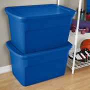 6 Pack Plastic Storage Tote Container Stackable Set With Lid Large 120 Quart