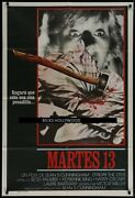Original 1980 Friday The 13th Aka Tuesday The 13th Argentina 1 Sheet Best Art