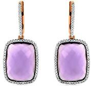 Large 15.40ct Diamond And Aaa Amethyst 14kt Rose Gold Cushion Cut Hanging Earrings