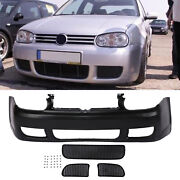 R32 Style Front Bumper Cover W/ Black Mesh Grille Fit 99-05 Volkswagen Golf Mk4