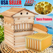7pcs Auto Run Bee Comb Hive Frames And Practical Wooden Beekeeping Beehive House