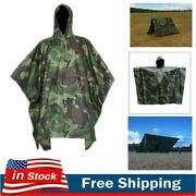Poncho Military Woodland Ripstop Wet Weather Raincoat Camping Hiking Camo Us