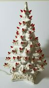 Vintage White Gold Ceramic Christmas Tree With Music Box Red Bulbs