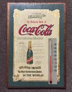 Rare Item Coca Cola Vintage Made Of Wood Signboard Thermometer Old American