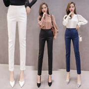 Womens Summer Straight Suit Trousers Slim High-waisted Pencil Skinny Ninth Pants