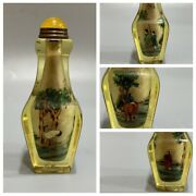 Old Beijing Chinese Glass Inside Painting Snuff Bottle Painted Box Gifts Square